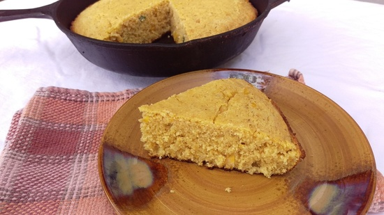 Jalapeno Creamed Cornbread cast iron slice Mommy Perfect