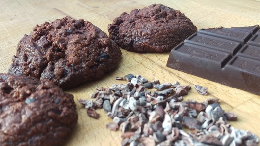 chocolate cookies and nibs